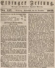 Elbinger Zeitung, No. 137 Sonnabend, 18. November 1843