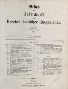 Zeitschrift des Vereins deutscher Ingenieure, Bd. V, 1861 (Atlas zur Zeitschrift des Vereins deutscher Ingenieure)