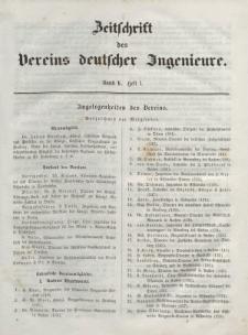 Zeitschrift des Vereins deutscher Ingenieure, Bd. V, 1861, H. 1.
