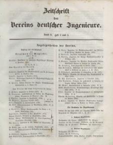 Zeitschrift des Vereins deutscher Ingenieure, Bd. V, 1861, H. 2-3.