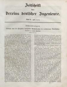 Zeitschrift des Vereins deutscher Ingenieure, Bd. V, 1861, H. 5-6.
