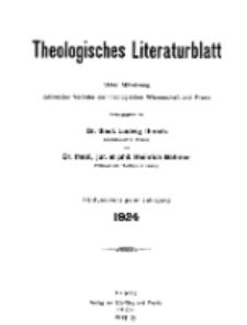 Theologisches Literaturblatt, 1924 (Inhaltsverzeichniß)