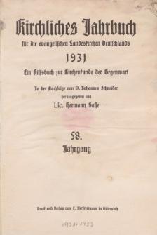 Kirchliches Jahrbuch, 58. Jahrgang, 1931