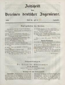 Zeitschrift des Vereins deutscher Ingenieure, Bd. VI, September 1862, H. 9.