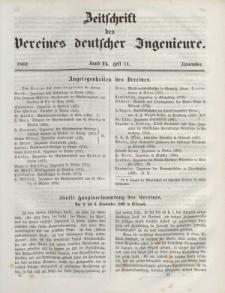 Zeitschrift des Vereins deutscher Ingenieure, Bd. VI, November 1862, H. 11.