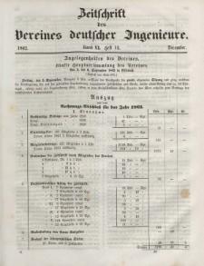Zeitschrift des Vereins deutscher Ingenieure, Bd. VI, Dezember 1862, H. 12.