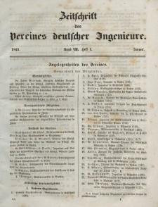 Zeitschrift des Vereins deutscher Ingenieure, Bd. VII, Januar 1862, H. 1.