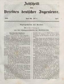 Zeitschrift des Vereins deutscher Ingenieure, Bd. VII, April 1862, H. 4.