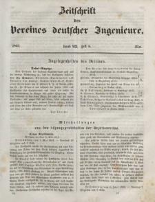 Zeitschrift des Vereins deutscher Ingenieure, Bd. VII, Mai 1862, H. 5.