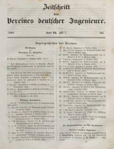 Zeitschrift des Vereins deutscher Ingenieure, Bd. VII, Juli 1862, H. 7.