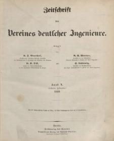 Zeitschrift des Vereins deutscher Ingenieure, Bd. X, 1866 (Inhalt + Alfabetisches Inhaltsverzeichniss)