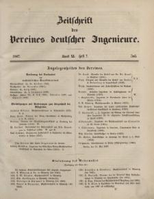Zeitschrift des Vereins deutscher Ingenieure, Bd. XI, Juli 1867, H. 7.