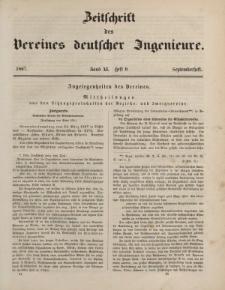Zeitschrift des Vereins deutscher Ingenieure, Bd. XI, September 1867, H. 9.