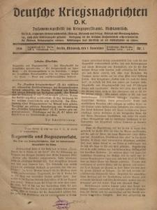 Deutsche Kriegsnachrichten (D.K.), Mittwoch, 1. November 1916, Nr 1.