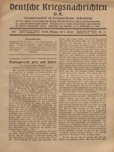Deutsche Kriegsnachrichten (D.K.), Montag, 8. Januar 1917, Nr 27.