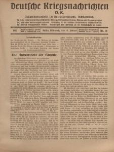 Deutsche Kriegsnachrichten (D.K.), Mittwoch, 10. Januar 1917, Nr 28.