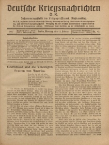 Deutsche Kriegsnachrichten (D.K.), Montag, 12. Februar 1917, Nr 42.