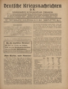 Deutsche Kriegsnachrichten (D.K.), Mittwoch, 25. April 1917, Nr 71.