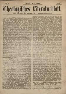 Theologisches Literaturblatt, 9. Januar 1880, Nr 1.