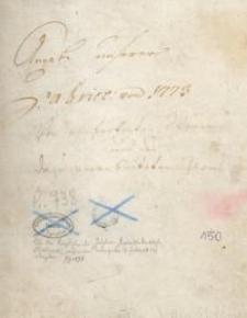 Angabe unserer Fabrik von 1773 (bis 1810) von verfertigten Waren und des dazuverarbeiteten Garns