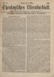 Theologisches Literaturblatt, 26. März 1880, Nr 12.