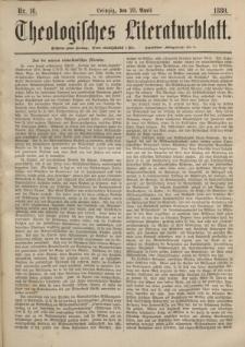 Theologisches Literaturblatt, 23. April 1880, Nr 16.