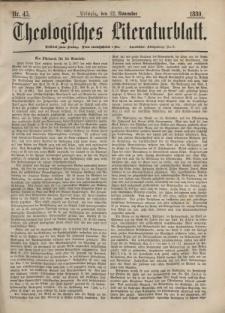Theologisches Literaturblatt, 12. November 1880, Nr 45.