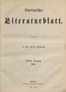 Theologisches Literaturblatt, 1881 (Inhaltsverzeichniß)