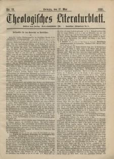 Theologisches Literaturblatt, 27. Mai 1881, Nr 21.