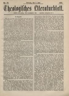 Theologisches Literaturblatt, 3. Juni 1881, Nr 22.