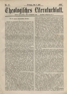 Theologisches Literaturblatt, 8. Juli 1881, Nr 27.