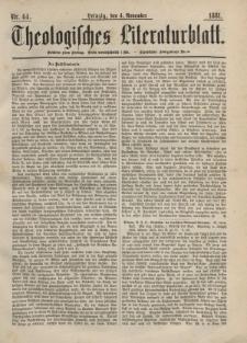 Theologisches Literaturblatt, 4. November 1881, Nr 44.