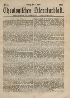 Theologisches Literaturblatt, 14. April 1882, Nr 15.