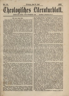 Theologisches Literaturblatt, 21. Juli 1882, Nr 29.