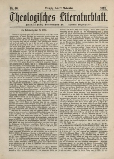 Theologisches Literaturblatt, 17. November 1882, Nr 46.