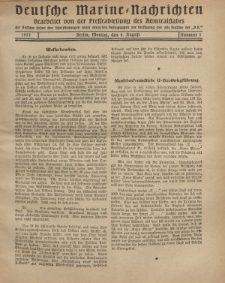 """Deutsche Marine=Nachrichten...""""D.K."""", Montag, 6. August 1917, Nummer 1."""