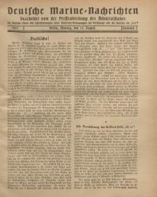 """Deutsche Marine=Nachrichten...""""D.K."""", Montag, 13. August 1917, Nummer 2."""