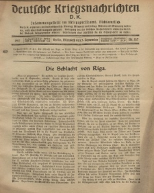 Deutsche Kriegsnachrichten (D.K.), Mittwoch, 5. September 1917, Nr 127.