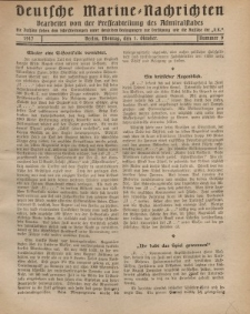 """Deutsche Marine=Nachrichten...""""D.K."""", Montag, 1. Oktober 1917, Nummer 9."""
