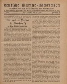 """Deutsche Marine=Nachrichten...""""D.K."""", Montag, 22. April 1918, Nummer 37."""
