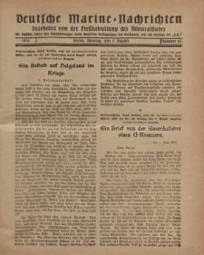 """Deutsche Marine=Nachrichten...""""D.K."""", Montag, 5. August 1918, Nummer 51."""