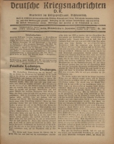 Deutsche Kriegsnachrichten (D.K.), Mittwoch, 11. September 1918, Nr 280.