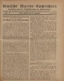 """Deutsche Marine=Nachrichten...""""D.K."""", Montag, 16. September 1918, Nummer 57."""