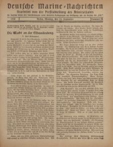 """Deutsche Marine=Nachrichten...""""D.K."""", Montag, 23. September 1918, Nummer 58."""