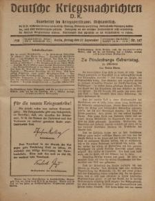 Deutsche Kriegsnachrichten (D.K.), Freitag, 27. September 1918, Nr 287.