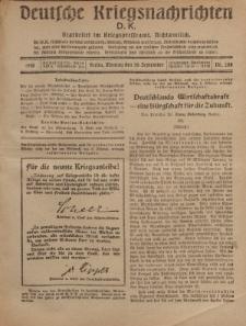 Deutsche Kriegsnachrichten (D.K.), Montag, 30. September 1918, Nr 288.