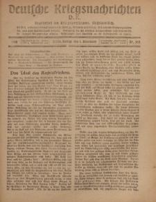 Deutsche Kriegsnachrichten (D.K.), Freitag, 1. November 1918, Nr 302.
