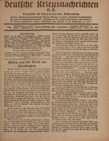 Deutsche Kriegsnachrichten (D.K.), Montag, 4. November 1918, Nr 303.