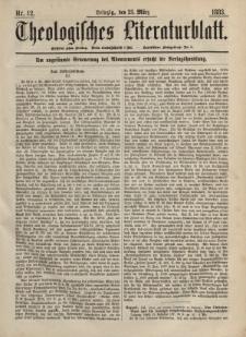 Theologisches Literaturblatt, 23. März 1883, Nr 12.