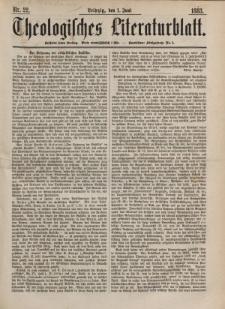 Theologisches Literaturblatt, 1. Juni 1883, Nr 22.